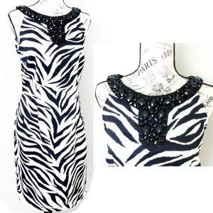 Connected Apparel Cocktail Dress Zebra Jewel Neck
